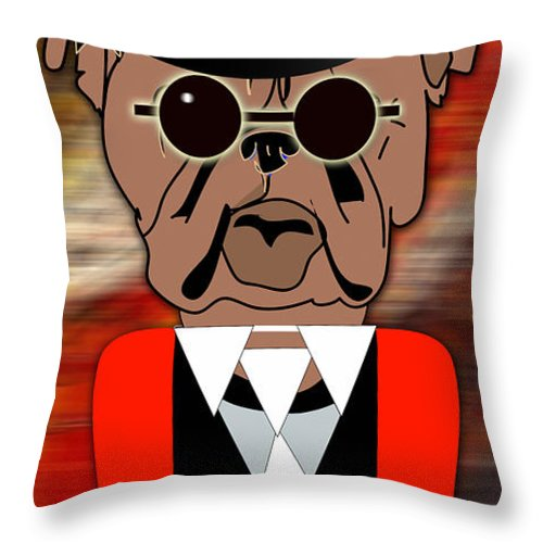 Bull Dog Throw Pillow featuring the mixed media Big Bull Dog by Marvin Blaine