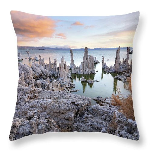 Water's Edge Throw Pillow featuring the photograph Big Cloud Above Tufas On Mono Lake by Rezus