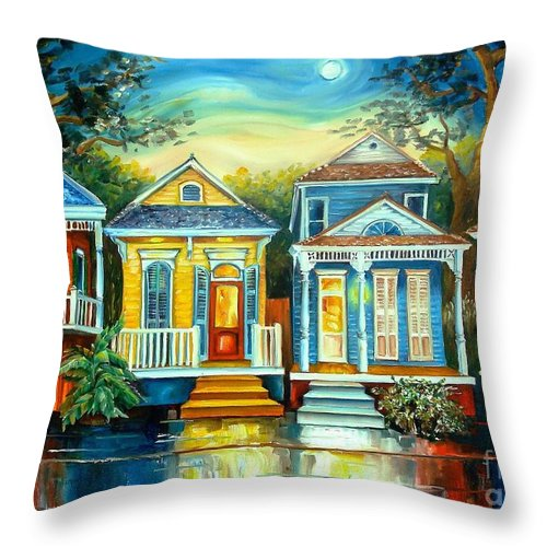 New Orleans Throw Pillow featuring the painting Big Easy Moon by Diane Millsap