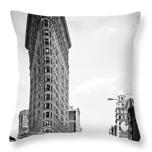 Nyc Throw Pillow featuring the photograph Big In The Big Apple - Bw by Hannes Cmarits