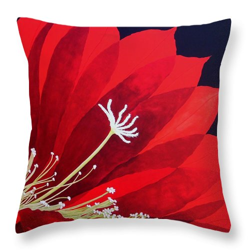 Red Throw Pillow featuring the painting Big Red by Carol Sabo