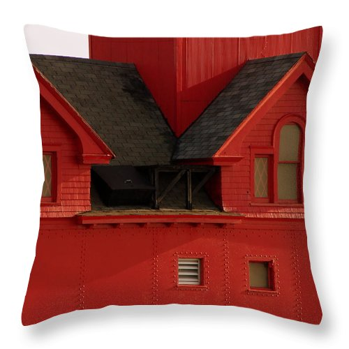 Windows Throw Pillow featuring the photograph Big Red Holland Harbor Light Michigan by Michelle Calkins