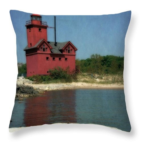 Michigan Throw Pillow featuring the photograph Big Red Holland Michigan Lighthouse by Michelle Calkins