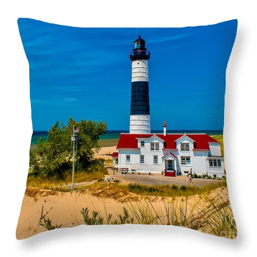Beach Throw Pillow featuring the photograph Big Sable Light On The Shore by Nick Zelinsky