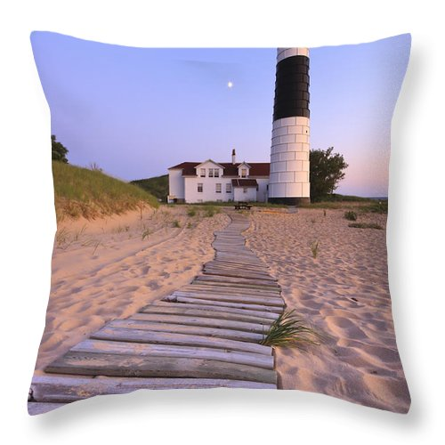 3scape Photos Throw Pillow featuring the photograph Big Sable Point Lighthouse by Adam Romanowicz
