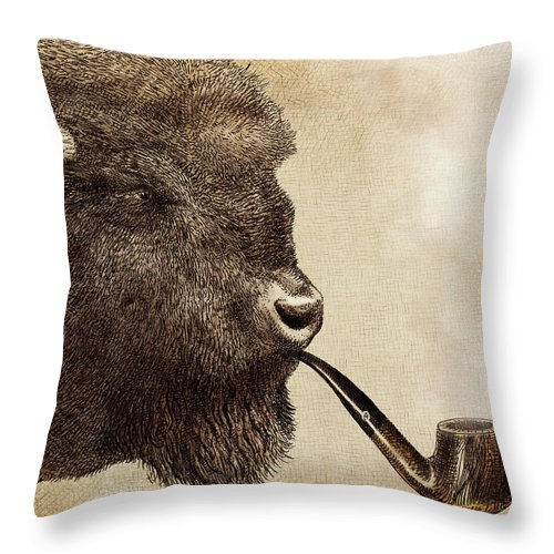 Buffalo Throw Pillow featuring the drawing Big Smoke by Eric Fan