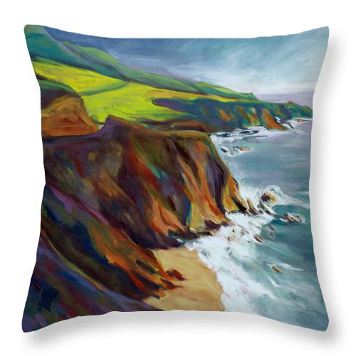 Big Throw Pillow featuring the painting Big Sur 1 by Konnie Kim