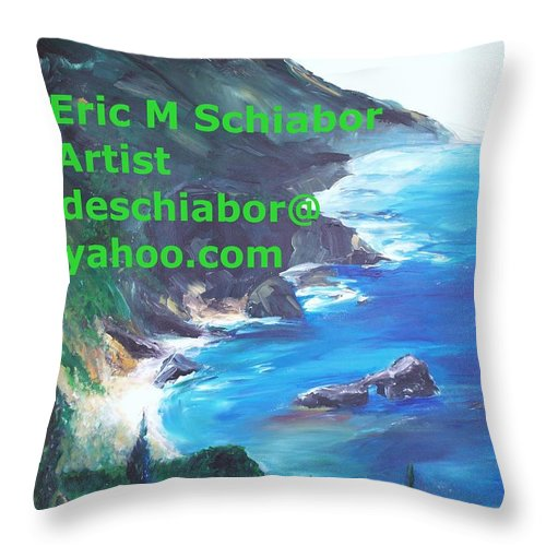 Big Sur Throw Pillow featuring the painting Big Sur Califorina by Eric Schiabor