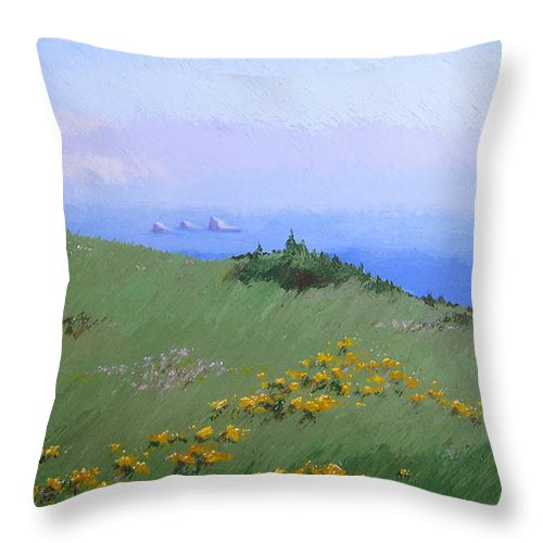 Landscape Throw Pillow featuring the painting Big Sur by Hunter Jay