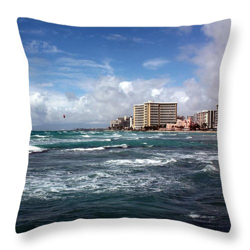 Surf Throw Pillow featuring the photograph Big Surf Waikiki by Pat Purdy