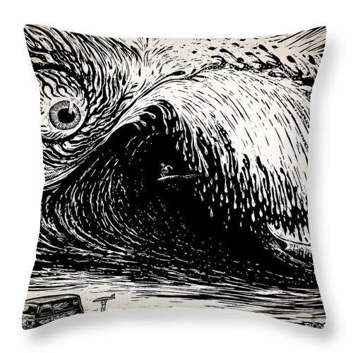 Surfing Throw Pillow featuring the drawing Big Wave by Bomonster