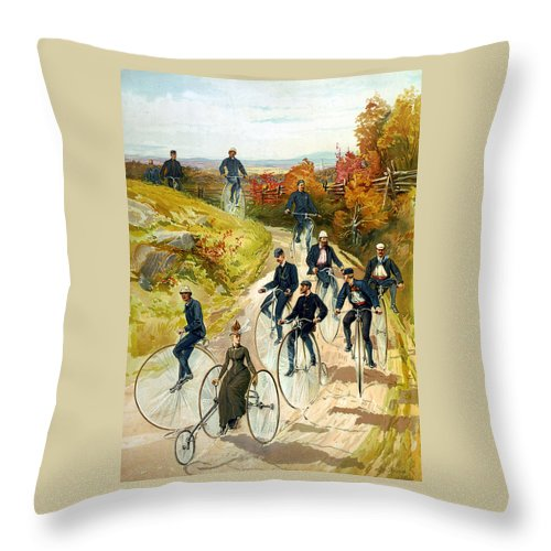 Big Wheel Bicycles Throw Pillow featuring the digital art Big Wheel Bicycles by Unknown