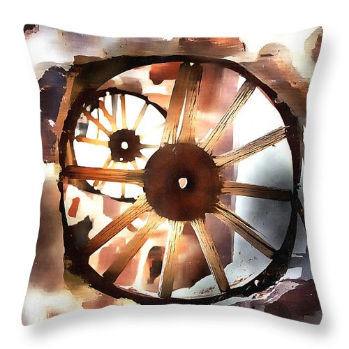 Old Wagon Wheels Throw Pillow featuring the photograph Big Wheel Wall by Barbara D Richards
