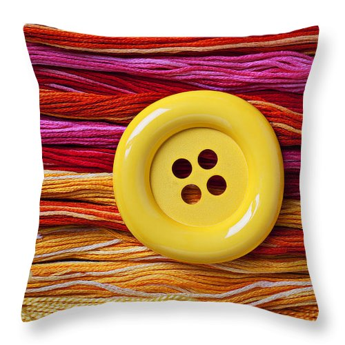 Big Throw Pillow featuring the photograph Big Yellow Button by Garry Gay