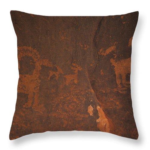 Utah Throw Pillow featuring the photograph Bighorn Sheep Petroglyph Zion National Park by Susan Rovira