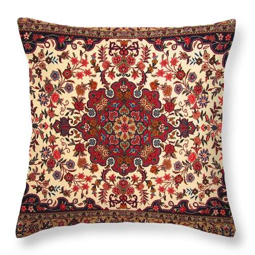 Bijar Carpet Photographs Throw Pillow featuring the photograph Bijar Red And Khaki Silk Carpet Persian Art by Persian Art
