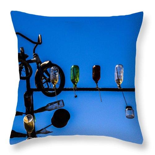 Bottleneck Ranch Throw Pillow featuring the photograph Bike by Angus Hooper Iii
