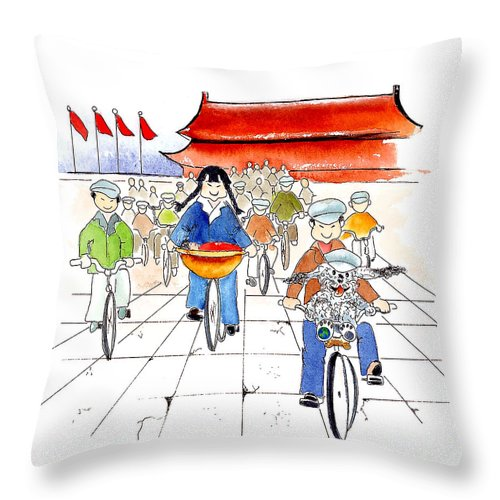 Art Prints For Kids Throw Pillow featuring the mixed media Biking In China by Leah Wiedemer