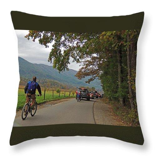 Photograph Throw Pillow featuring the photograph Biking Thru Cades Cove by Marian Bell