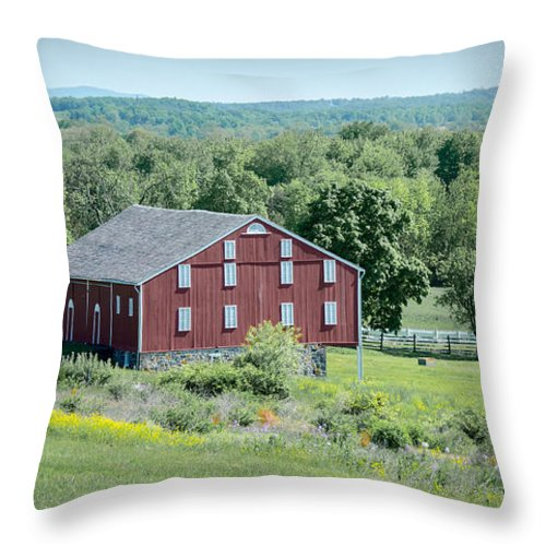 American Civil War Throw Pillow featuring the photograph Bilgerville Road Farm 7d02271 by Guy Whiteley