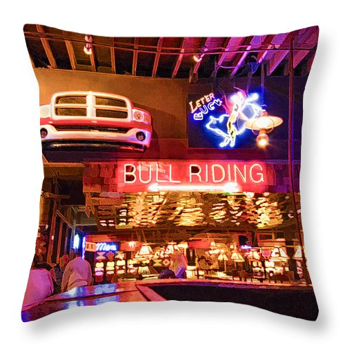 Bar Throw Pillow featuring the photograph Billy Bobs - Forth Worth by Ray Summers Photography