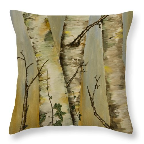Birch Throw Pillow featuring the painting Birch Trees by Alan Pickersgill