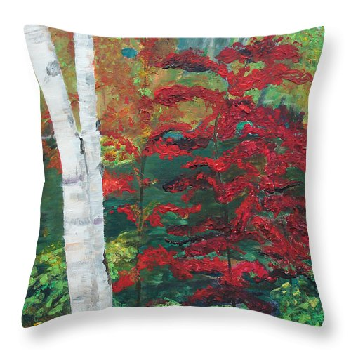 Forest Throw Pillow featuring the painting Birch Trees In Red by Frankie Picasso