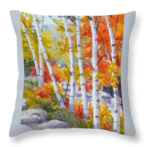 Birch Throw Pillow featuring the painting Birches Along The River by Janet Zeh