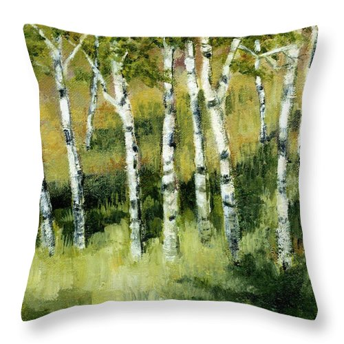 Trees Throw Pillow featuring the painting Birches On A Hill by Michelle Calkins