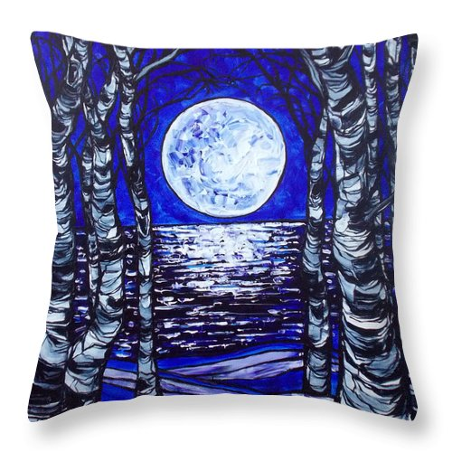 Moon Throw Pillow featuring the painting Birches With Shining Water by Tracy Levesque