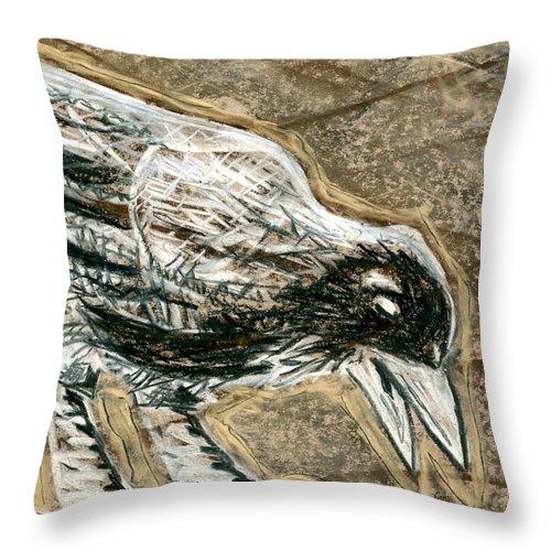 Bird Throw Pillow featuring the drawing Bird 3 by Matthew Howard