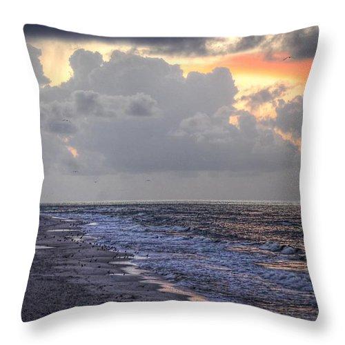 Palm Throw Pillow featuring the digital art Bird Bath Sunrise by Michael Thomas