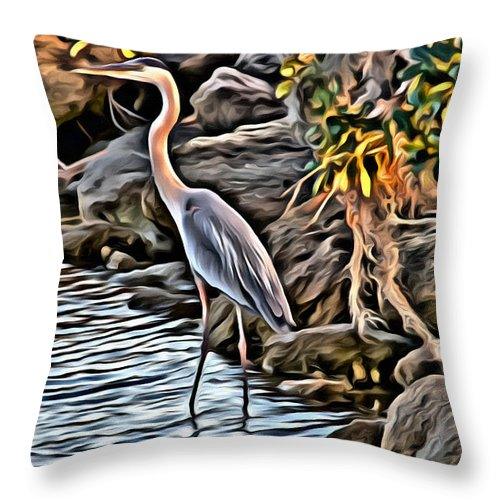 Egret Bird Water Florida Scenic Throw Pillow featuring the photograph Bird By The Water by Alice Gipson