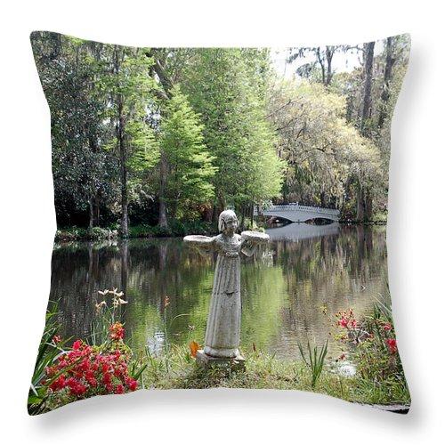 Bird Girl Throw Pillow featuring the photograph Bird Girl Of Magnolia Plantation Gardens by Suzanne Gaff