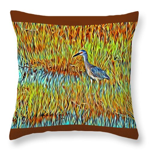 Bird Reeds Water Florida Throw Pillow featuring the photograph Bird In The Reeds by Alice Gipson