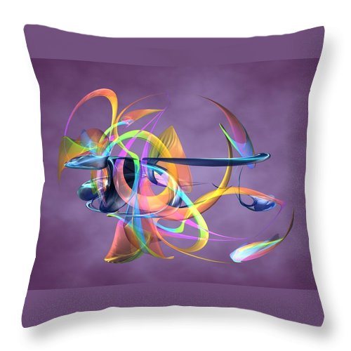 Abstract Art Canvas Prints Throw Pillow featuring the digital art Bird-of-paradise - Abstract by Louis Ferreira