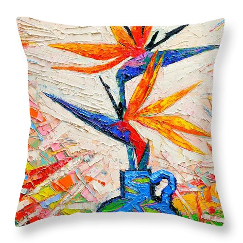 Bird Throw Pillow featuring the painting Bird Of Paradise Flowers by Ana Maria Edulescu