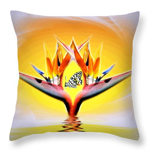 Bird Of Paradise Throw Pillow featuring the digital art Bird Of Paradise by Joyce Dickens