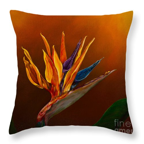 Bird Of Paradise Flower Throw Pillow featuring the painting Bird Of Paradise by Zina Stromberg