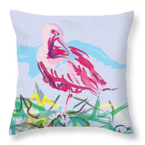 Bird Throw Pillow featuring the painting Bird Red Ibis by Go Van Kampen