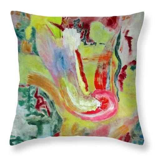 Bird Throw Pillow featuring the painting Bird Rising From Morning Bath by Rita Omark