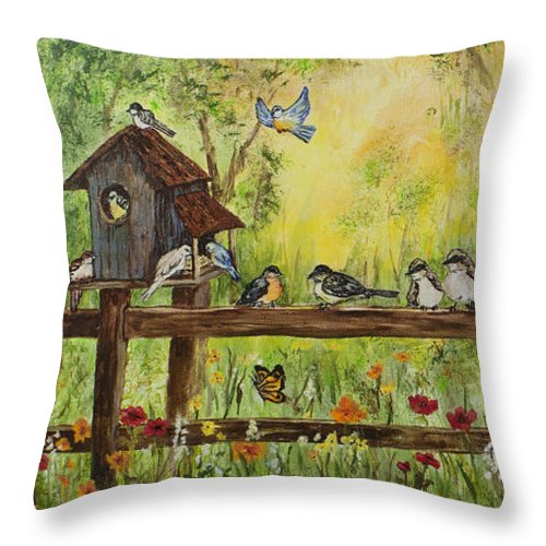 Birds Throw Pillow featuring the painting Bird Song by Janis Lee Colon