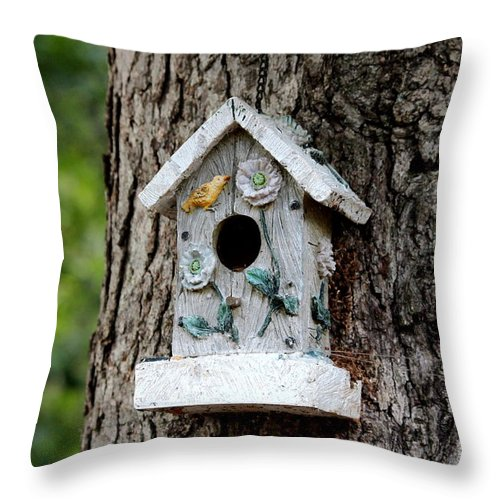 Wire Throw Pillow featuring the photograph Birdhouse by Cynthia Snyder