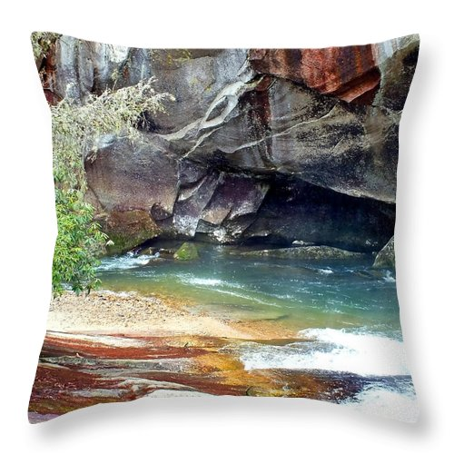 Duane Mccullough Throw Pillow featuring the photograph Birdrock Waterfall In Spring 2 by Duane McCullough