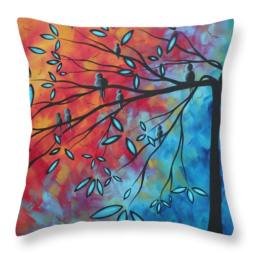 Art Throw Pillow featuring the painting Birds And Blossoms By Madart by Megan Duncanson