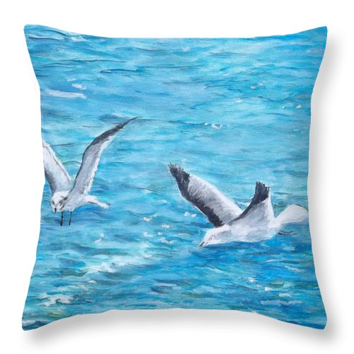 Ocean Throw Pillow featuring the painting Birds Around Dock by Danny Helms