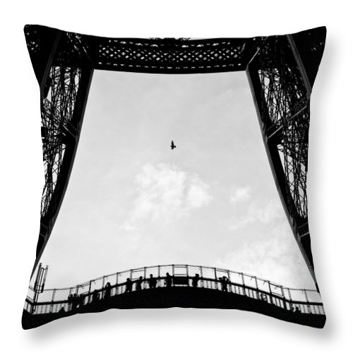 Eiffel Tower Throw Pillow featuring the photograph Birds-eye View by Dave Bowman