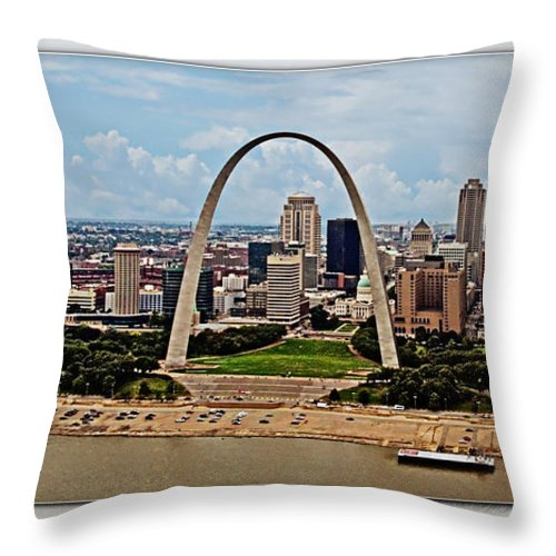 St. Louis Throw Pillow featuring the photograph Bird's Eye View Of St.louis by Walter Herrit