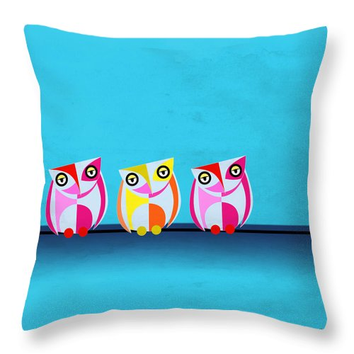 Owl Throw Pillow featuring the painting Birds In Blue by Mark Ashkenazi