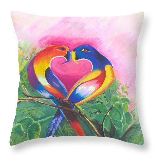 Love Throw Pillow featuring the painting Birds In Love 02 by Emmanuel Baliyanga